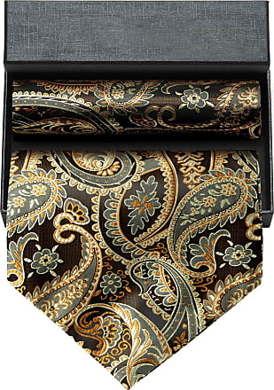 Hisdern Mens Paisley Floral Ascot Pocket Square Gift Box Jacquard Woven Cravat