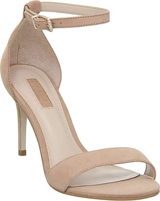 Office Mimosa Two Part Mid Sandal Nude Nubuck with Branding - 4 UK