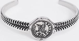 Icon Brand Bracciale rigido in metallo argento con dettagli ad aquila