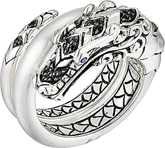 John Hardy Legends Naga Ring with Black Spinel and Blue Sapphires Eyes (Silver) Ring