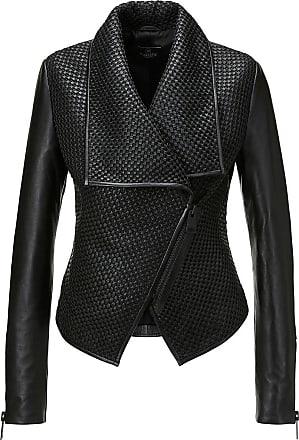Madeleine Lederjacke mit Flechtung in schwarz MADELEINE Gr 34 für Damen. Elasthan, Polyester. Lederreinigung
