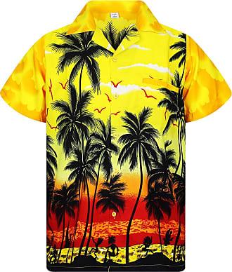 V.H.O. Funky Hawaiian Shirt, Shortsleeve, Beach, Yellow, 4XL