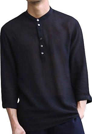 junkai Linen Shirt for Mens - Linen Shirt 3/4 Sleeve Casual Shirt Solid Color Collarless Top Loose Blouse Business Shirt Soft Comfortable Breathable S-2XL Bl