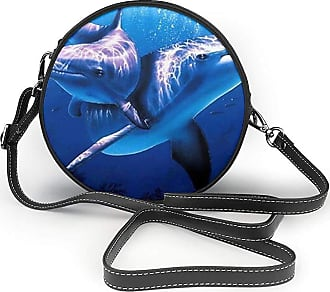 Turfed Two Dolphin Print Round Crossbody Bags Women Shoulder Bag Adjustable PU Leather Chain Strap and Top Zipper Small Handbag Handle Tote