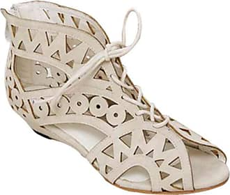 YOUJIA Womens Cut Out Gladiator Sandals Wedge Ankle Boots Strappy Lace Up Summer Shoes ( 1 White, 3.5 UK)
