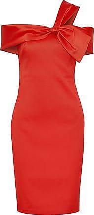 Badgley Mischka Badgley Mischka Woman Knotted Satin-twill Dress Tomato Red Size 2