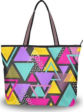 Lorona Women Colorful Triangles In Memphis Style Canvas Shoulder Hand Bag Large Capacity Tote Bag