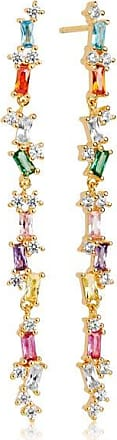 Sif Jakobs Jewellery Earrings Antella lungo with Multicoloured zirconia - 18k gold plated