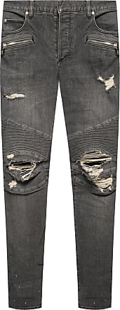 Balmain Jeans With Logo Mens Grey