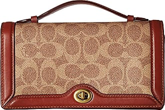 36fd16d36 Coach Color Block Coated Canvas Signature Riley Chain Clutch (Tan/Rust/Brass )