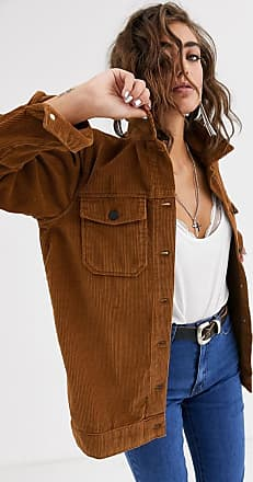 Object jumbo cord oversized shirt-Brown