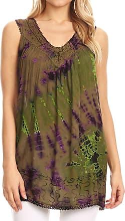 Sakkas 17501 - Sana Tie Dye Sleeveless Embroidered V-Neck Tank Tunic Top Blouse/Cover Up - Olive - OS