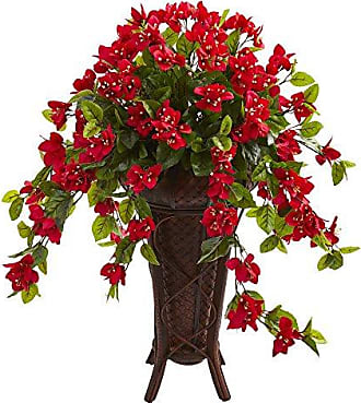 Nearly Natural 8185 Bougainvillea Artificial Stand Planter Silk Plants Red