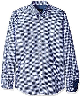 Bugatchi Mens Slim Fit Patterned Cotton Point Collar Button Down Woven