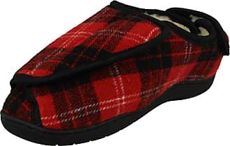 Spot On Ladies Wide Fitting Tartan Slippers CT-16008 - Textile Red Tartan - UK Size 7-8 - EU Size 40-41 - US Size 9-10