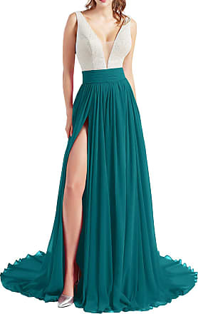 MACloth Women V Neck Long Prom Dresses Sleeveless Formal Evening Gown with Slit (22, Teal)