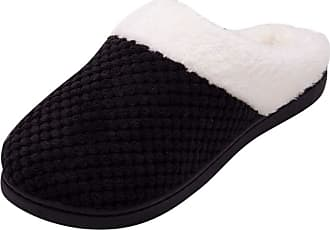 Yvelands TEELONG Women Comfort Winter Warm Slippers, Faux Fur Memory Foam Slippers Plush Lined Soft Anti-Skid Home Slipper Shoes (Black,11 UK)