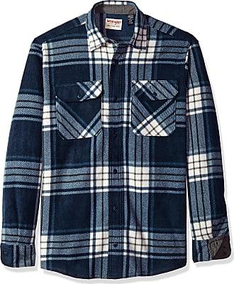 Wrangler Mens Long-Sleeve Plaid Fleece Shirt Long Sleeve Button Down Shirt - Blue