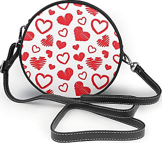 Turfed Cute Size Love Print Round Crossbody Bags Women Shoulder Bag Adjustable PU Leather Chain Strap and Top Zipper Small Handbag Handle Tote