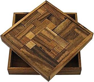 Novica 292530 Geometry Game Wood Puzzle Brown