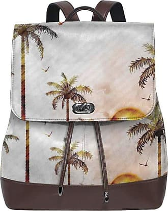 Flyup Womens leather backpack,Tropical Landscape In Watercolor Style Palm Trees Ocean Waves Sunset Beach Picture,School Travel Girls Ladies Rucksack
