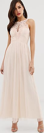 Little Mistress tulle maxi dress with lace detail-Pink
