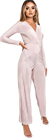Ikrush Riley Ribbed Wide Leg Jumpsuit ROSE UK 14