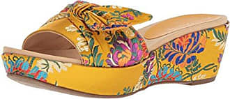 Anne Klein Womens Zandal Wedge Sandal Slide, Dark Yellow/Multi Fabric, 6.5 Medium US