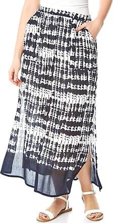 Roman Originals Women Tie Dye Tiered Maxi - Ladies Elasticated Waistband High Waisted Maxi Length 100% Cotton Bohemian Boho Festival Holiday Skirts - Navy - Size 14