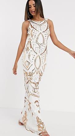 Goddiva Geborduurde maxi-jurk met lovertjes in wit en goud