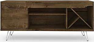 Manhattan Comfort 216BMC9 Baxter Mid Century Modern Living Room TV Stand with Wine Racks, Rustic Brown