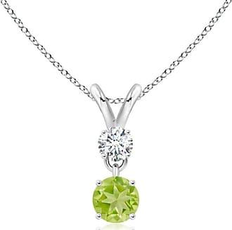 Angara Valentine Day Sale - Round Peridot and Diamond Two Stone Pendant