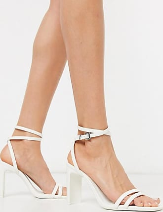 Bershka strappy heel with ankle strap in white