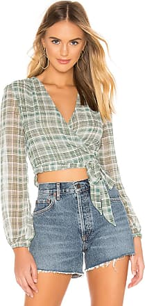 Superdown Cecile Wrap Top in Green
