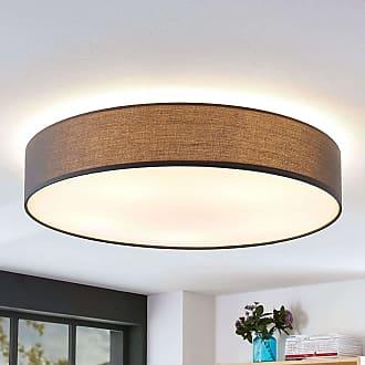 Lindby Lámpara de techo Gordana de lino gris, 76 cm