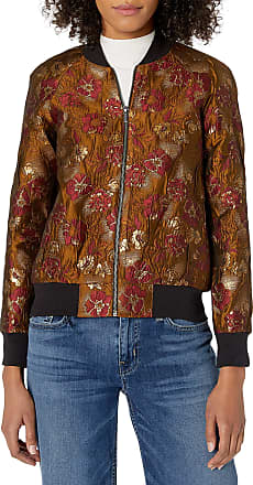 French Connection Womens Oma Jaquard Jacket, Beaujolais/Gold, 4