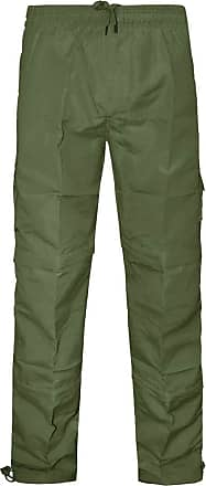 Saute Styles Mens Zip Off Shorts 3 in 1 Trousers Combat Cargo Work Elasticated Pants Bottoms Size Olive Green