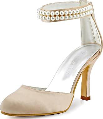 Elegantpark AJ3065 Women Closed Toe Sandals Pearls Ankle Strap High Heels Satin Prom Wedding Party Court Shoes Champagne UK 2