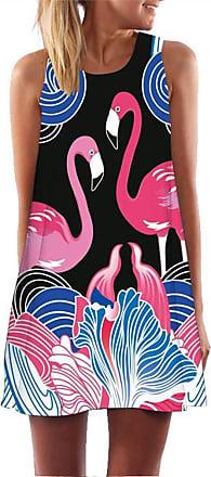 Ocean Plus Women A Lines Sleeveless Retro Floral Printing Short Swing Dresses Casual Ladies Beachwear Beach Dresses Summer Mini Dress (XXL (UK 14-16), Black Flam