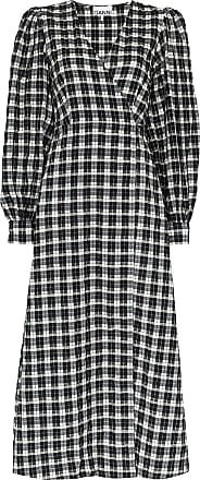 Ganni seersucker check wrap midi dress - Black