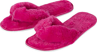 Forever Dreaming Womens Open Toe Memory Foam Faux Fur Indoor Flip Flop Thong Slippers Pink 4