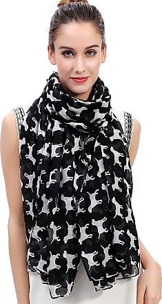Lina & Lily Labrador Dog Print Womens Large Scarf Lightweight (Black)