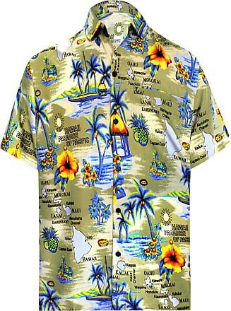 La Leela Men Button Down Holiday Shirt Short Sleeve Collar Front Pocket Palms Printed Basic Clothing Funny Funky Aloha, 4XL | Fits 64 - 66, Beige_w192