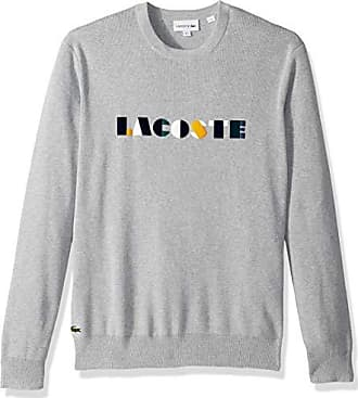 7629e378e228 Lacoste Mens Long Sleeve Letter Block Graphic Sweater