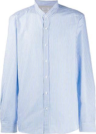 Brunello Cucinelli Camisa listrada com botões - Azul