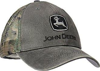 John Deere Logo Waxed Cotton Mesh Back Baseball Hat - One-Size - Mens - Charcoal