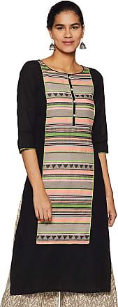 Aurelia Womens Cotton Straight Kurta (19FEA10475-700019_ Black_ Medium)