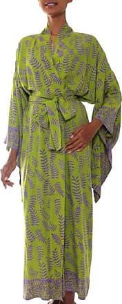 Novica Rayon robe, Tropical Fern Forest