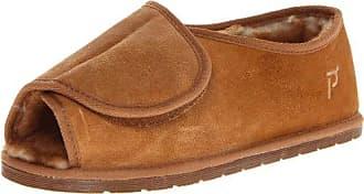 Propét Propet Mens Adjustable Overlay Slipper,Cinnamon,10 3E US