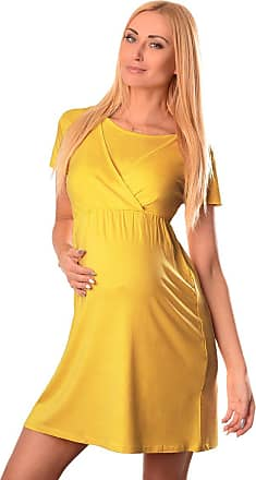 Purpless Maternity 2in1 Pregnancy and Nursing Dress with Short Sleeves and Round Neck 7200 (18, Mustard)